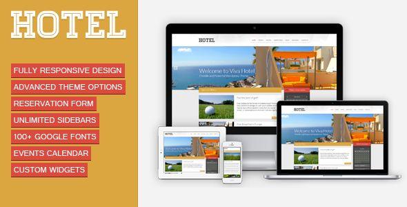 Viva Hotel es un template de WordPress, creado para facilitar una página web de hotel en pocos días, es totalmente Responsive por lo que no se debe de preocupar por si sus clientes quieren verla desde un dispositivo móvil.  http://ivanfiestas.com/tienda/paginas-web-para-hoteles/viva-hotel-premium-responsive-wordpress
