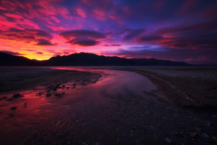 Blaze Away. - Sunrise at Lake Hawea, New Zealand.  Darren J.