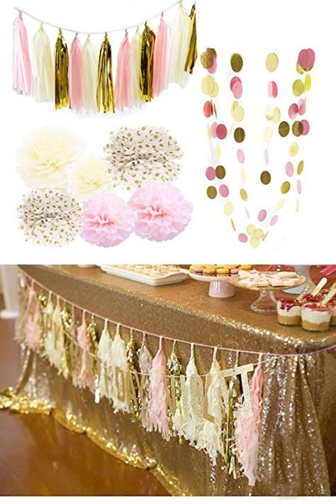 Pink Cream Glitter Gold Tissue Paper   Easy Graduation Party Ideas for High School   College Graduation Decorations Ideas on a Budget