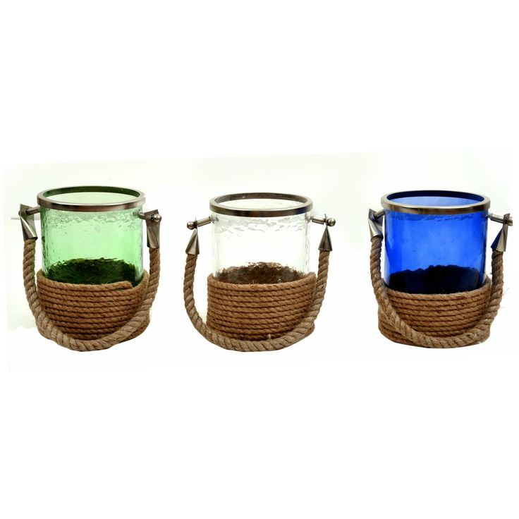Get a glowing ambience with these bright European inspired design of this lantern. Great for wedding centerpieces, table centerpieces and happy homes. Place your light at just the right height. Hang them on trees, or just place them anywhere.   Material: Glass and Rope  Color: Blue