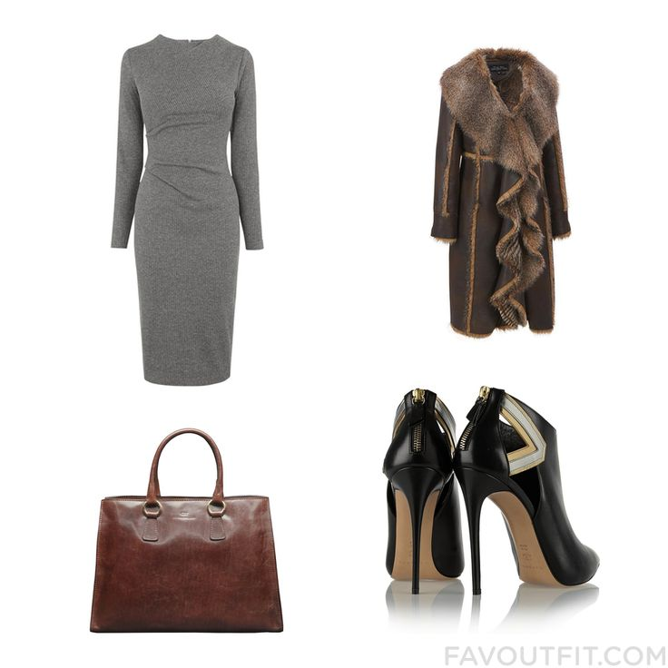 Style Things Featuring Whistles Dress Plus Size Faux Fur Coat Casadei Ankle Booties And Tote Bag Purse From January 2016 #outfit #look