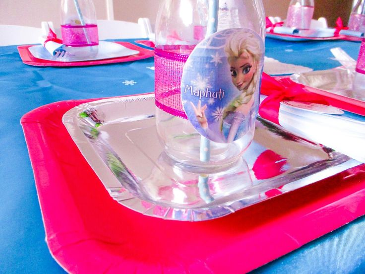 Frozen theme decor with a touch of pink