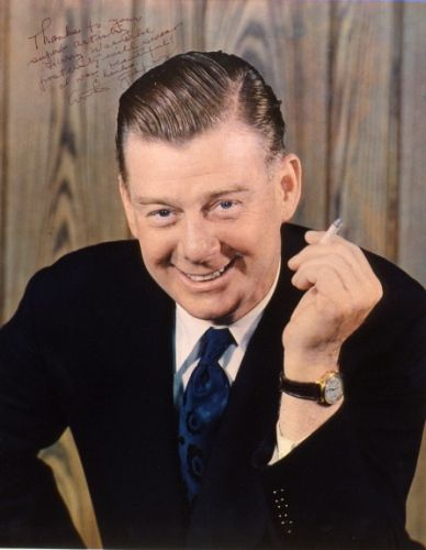 "Arthur Godfrey (1903-1983) was an American radio and television broadcaster and entertainer who was sometimes introduced by his nickname, The Old Redhead. (Photo is autographed to the photographer, ""Thanks to your superior artistry, Harry Warnecke, posterity will swear I was beautilful! Thanks Arthur Godfrey"")"