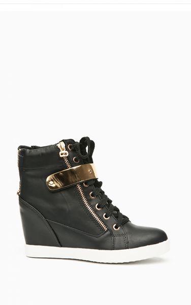 Sneakersy na koturnie Gold Trim czarne