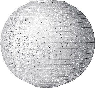 White 16 Inch Round Eyelet Paper Lantern by Luna Bazaar. $15.75. Designer lantern: lacy handmade paper with a floral eyelet pattern. Wire ribbing. Eyelet perforations cast great shadows! Very pretty when illuminated with colored light bulbs. Perfect for weddings! This eyelet lantern can also be used on most ceiling fixtures.