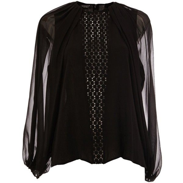 Giambattista Valli see-through long sleeves blouse ($690) ❤ liked on Polyvore featuring tops, blouses, black, giambattista valli, transparent top, see through blouse, transparent blouse and long sleeve blouse