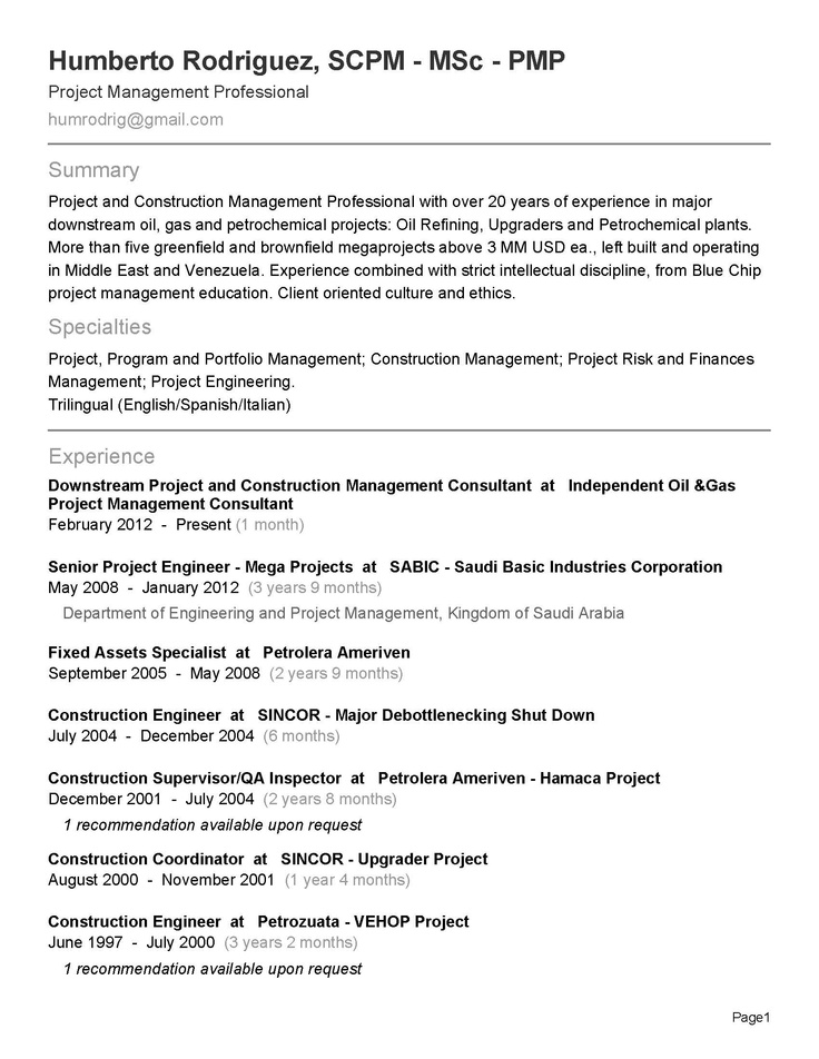 18 best best project management resume templates  u0026 samples
