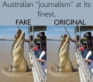 """Fake - Brutus, an 18ft(actually 16'6"""") long saltwater crocodile, launched himself from the water next to a boat full of tourists as he tucked into his regular buffalo meat meal. Snapper Katrina Bridgeford, from Sydney, took the amazing photo on the Adelaide River Jumping Croc Cruises tour as a guide held out the snack.Brutus, who is missing his right front leg, is a favorite with tourists on the Northern Territory river cruises. Altered Video: http://youtu.be/RDuEofCUfXY Click through for…"""