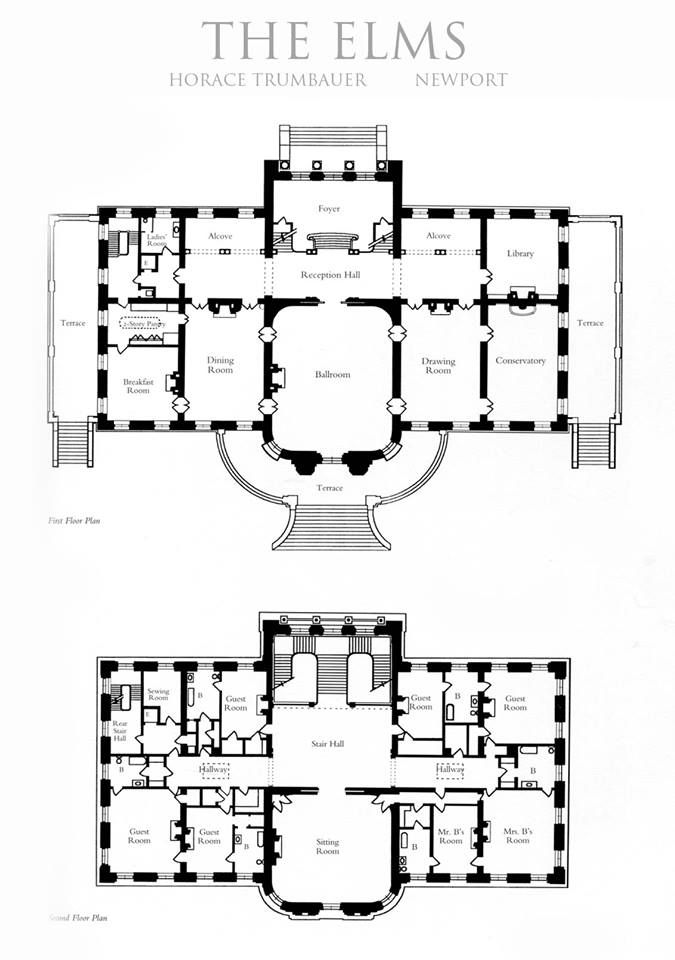 "The Elms: 1st & 2nd floor plan. I found this on Tyler Y. Hughes' board ""My Newport."" Thanks, Mr. Hughes! This and the picture of the cross hall popped up in time to be pinned with the rest of the Elms' photos. JC"