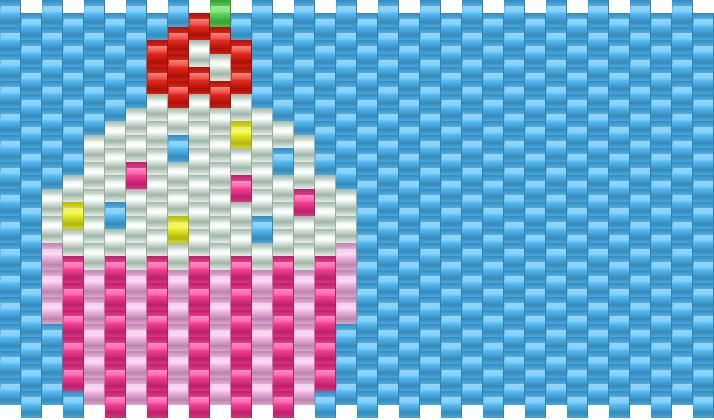 Big Cupcake Pony Bead Patterns | Food Kandi Patterns for Kandi Cuffs