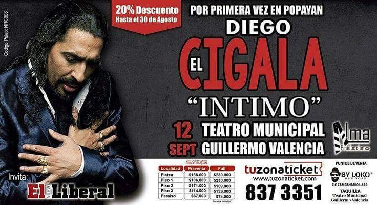 """Hoy el cantautor español Diego """"El Cigala"""" se presentará en el teatro Municipal Guillermo Valencia de #PopayánCO"""