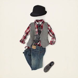 For a hipper boys' look, layer a gray vest over a patterned button down, and pick up a black fedora for him. Add a tie to finish the look, if he'll wear it.