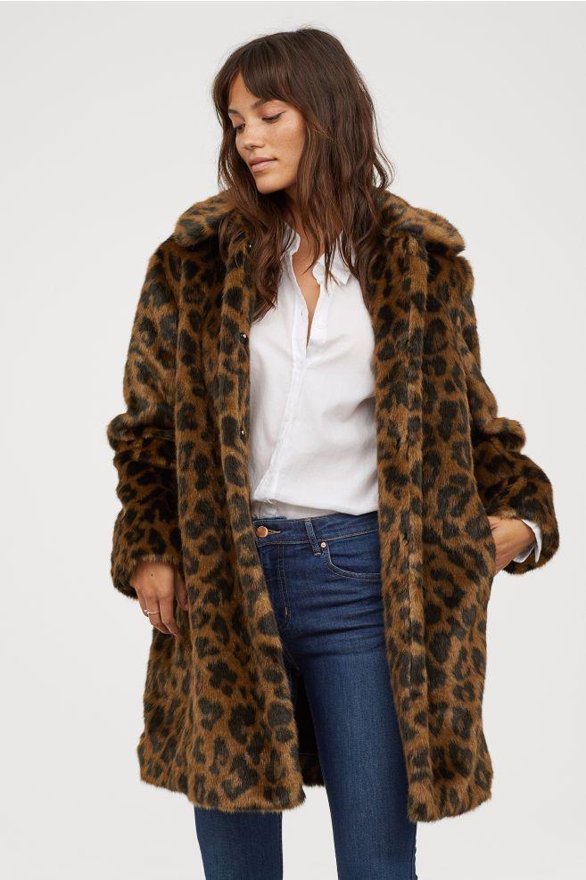 e2c11975297 Faux Fur Coat - Brown leopard print - Ladies