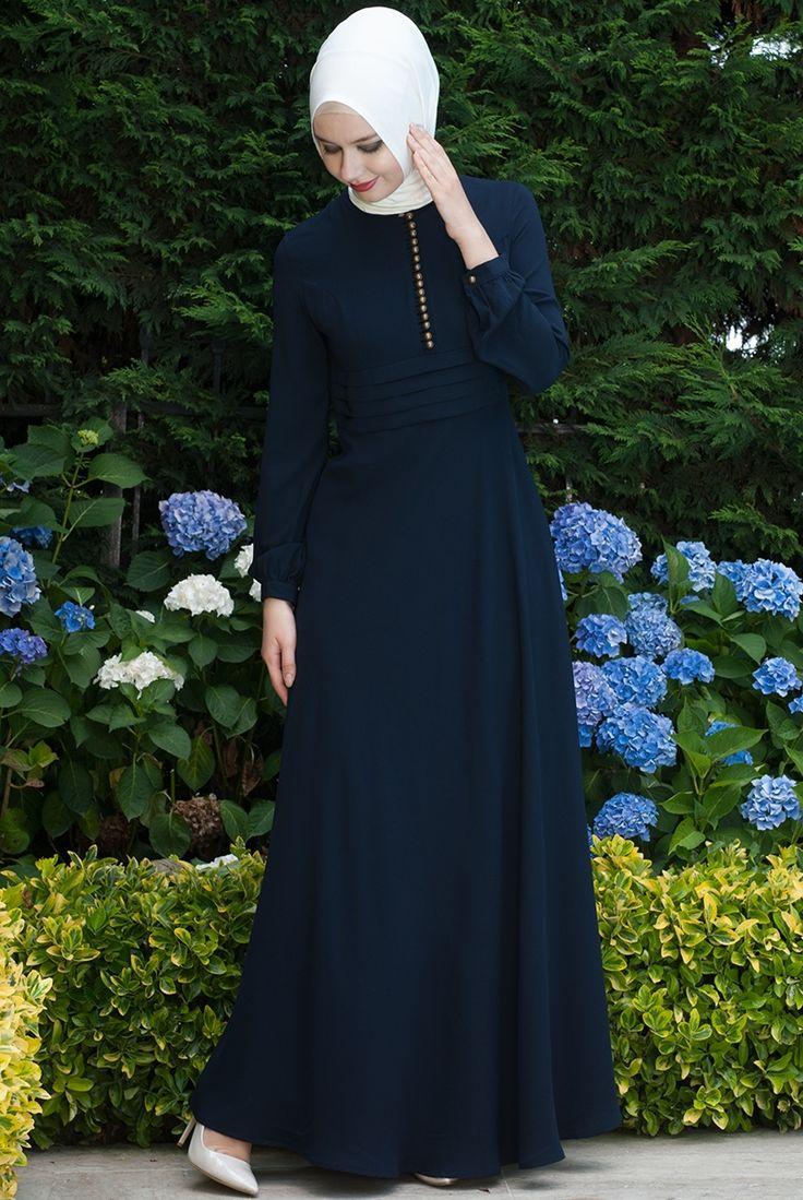 Sık Düğmeli Lacivert Elbise - 5280-06