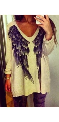 Beige Black Long Sleeve V Neck Wings Pullover Tunic Sweater – Sold Out