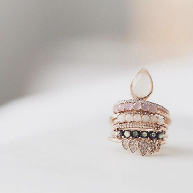 Teardrop stacking ring with Moonstone - local eclectic  - 6
