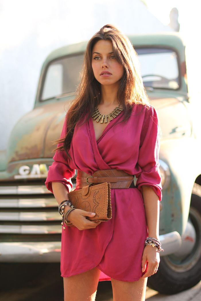 Outfit // Magenta Dress with Leather Accessories and Brass Necklace