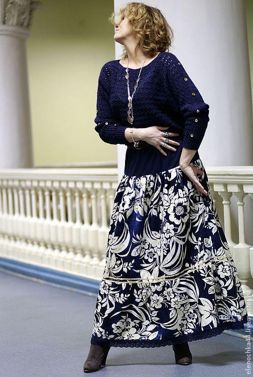 """Купить Длинная трикотажная юбка """"Гжель"""" - тёмно-синий, цветочный, длинная юбка, юбка в пол"""