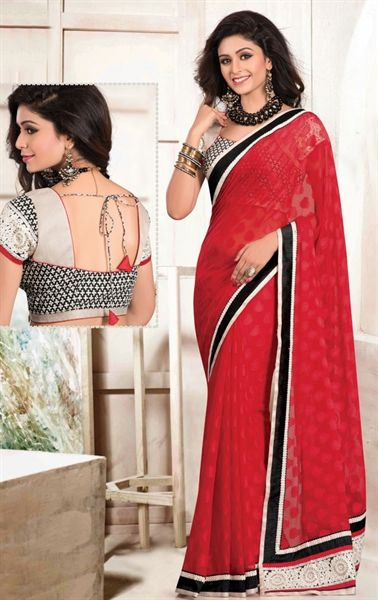 Picture of Sparkling Red Saree with Designer Blouse