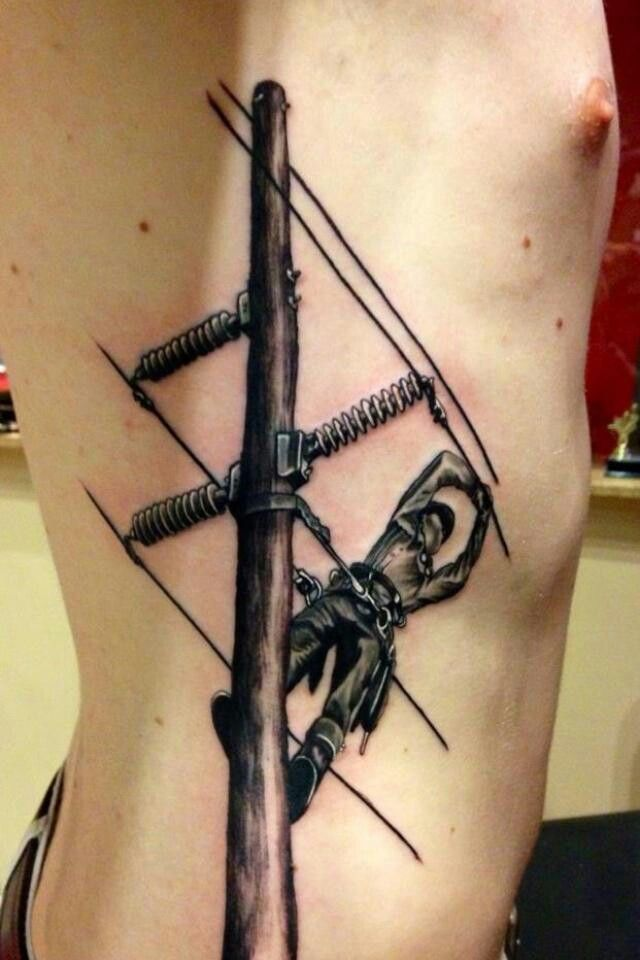 Brave Lineman Tattoo~  :) (My son is in this line of work)