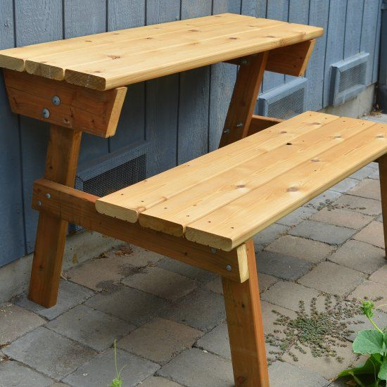 See how we made a picnic table that also turns into a bench.