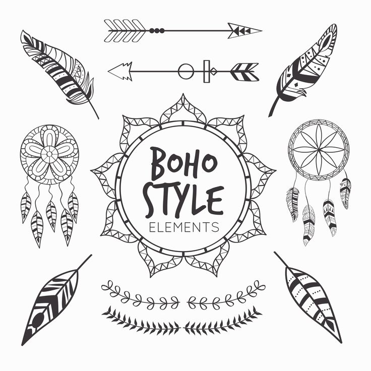 Art, boho style, details, elements, black and white, illustrations, inspiration