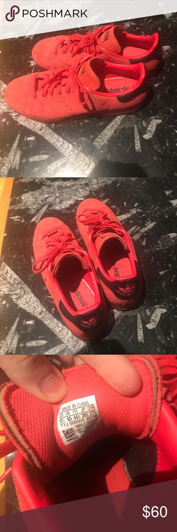 """Adidas Stan Smith Red suede stan smiths, very comfortable and durable. No original box. If you request I can probably use a generic box. Price is negotiable (somewhat). Color is """"shock red"""" Adidas Shoes Sneakers"""