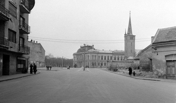 Várkörút, Evangélikus templom és a Bíróság épülete. - 1950-es évek