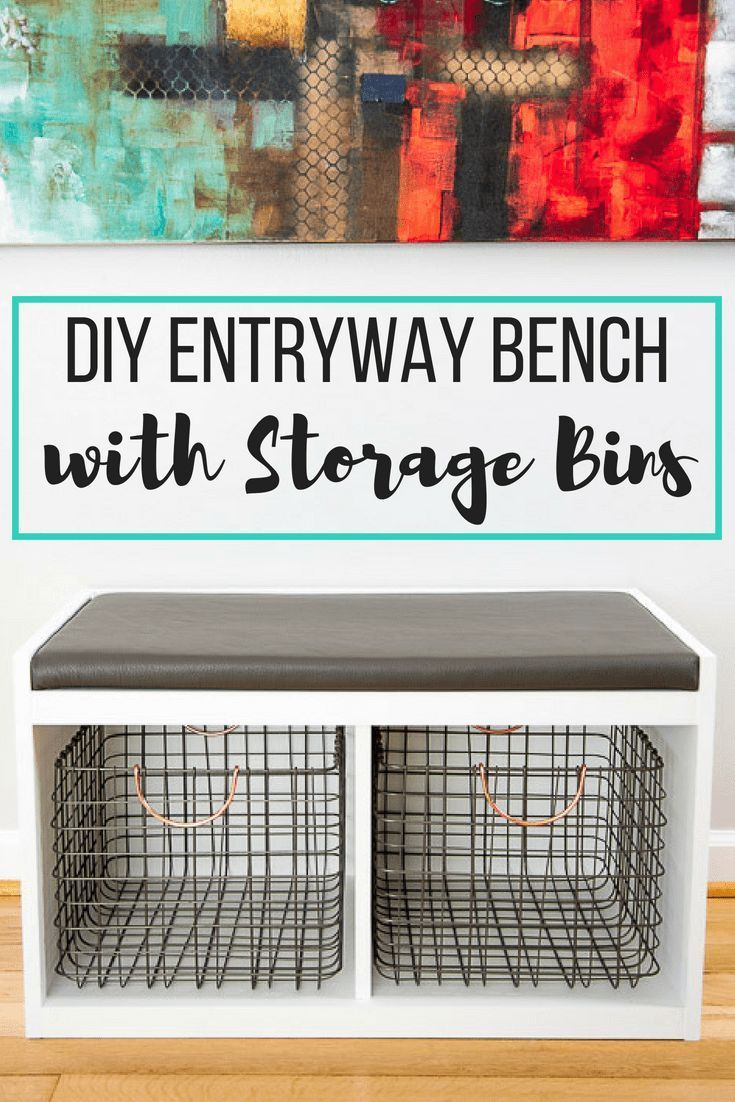 DIY Woodworking Ideas This simple DIY entryway bench is the perfect way to store shoes by the front do...