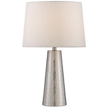 Silver Leaf Hammered Metal Cylinder Table Lamp   LampsPlus.com on sale $49.95