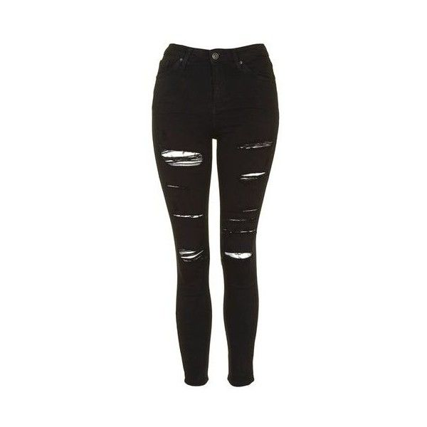 TopShop Tall Moto Super Rip Jamie Jean (£45) ❤ liked on Polyvore featuring jeans, pants, black, ripped jeans, high waisted jeans, destroyed skinny jeans, destructed skinny jeans and high waisted destroyed skinny jeans