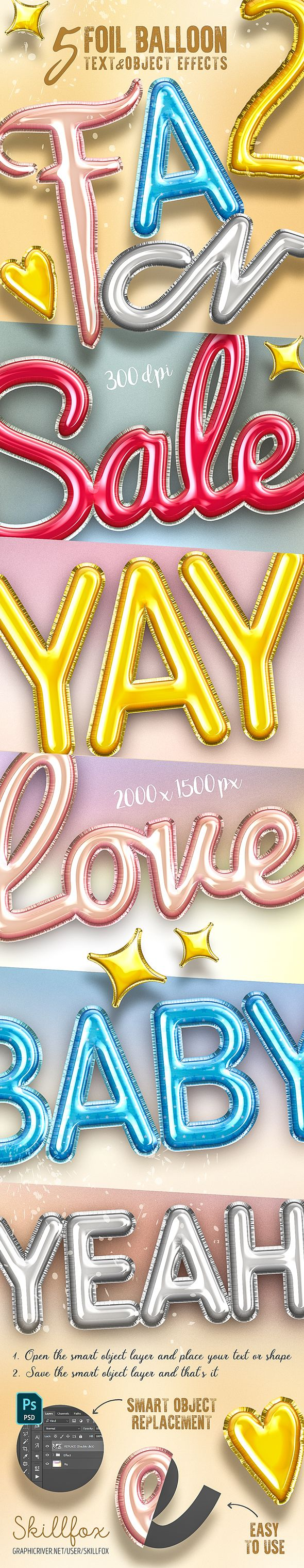 5 3D Foil Balloon Text Effects for Photoshop — Layered PSD #3d #helium balloon • Download ➝ https://graphicriver.net/item/5-3d-foil-balloon-text-effects-for-photoshop/21526036?ref=pxcr