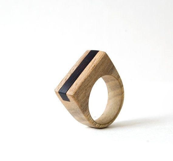 Bois anneau, anneau minimaliste, unisexe Ring, femmes anneau, ébène, bijoux gé…