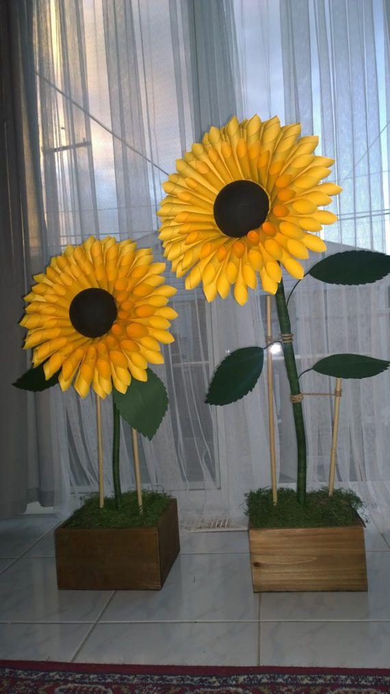 Girasoles de papel flores de papel con tallo tallos flores