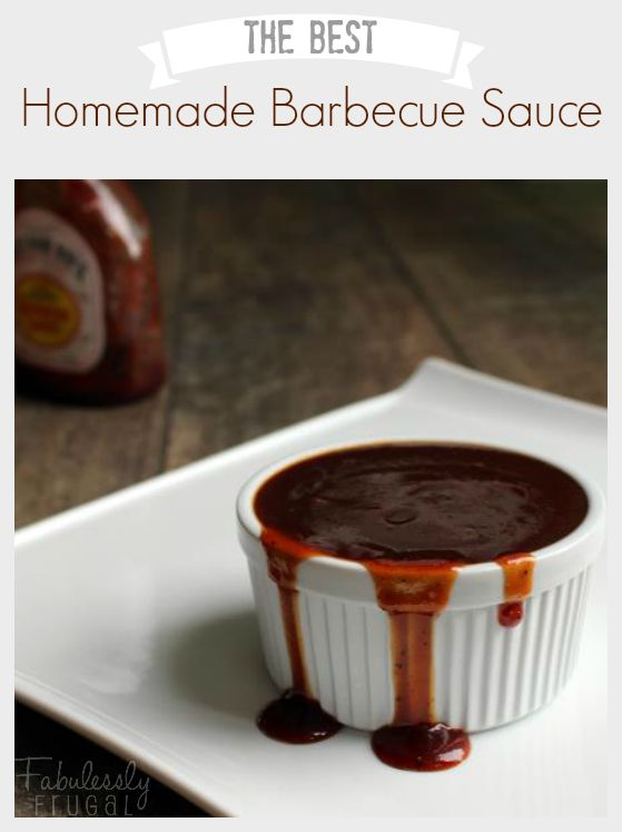 This homemade BBQ sauce tastes just like Sweet Baby Ray's! http://fabulesslyfrugal.com/?p=244314