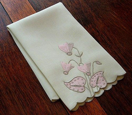 Em's Heart Antique Linens -Vintage Linen Marghab Embroidered Towel