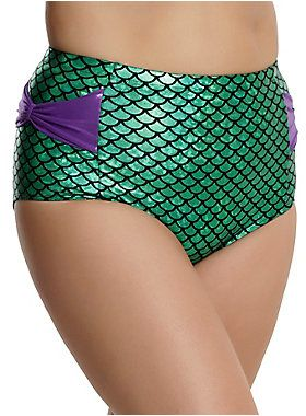 """Go under the sea with these swim bottoms from Disney's <i>The Little Mermaid</i> with a design inspired by Ariel's fin. The high-waisted bottoms feature glittery purple bows on each hip.<br><br>Top not included.<br><br>Want the matching top? Click below!<br><a href=""""http://www.hottopic.com/product/disney-the-little-mermaid-ariel-cosplay-swim-top/10760269.html"""">Disney The Little Mermaid Ariel Cosplay Swim Top Plus Size</a><br><ul><li style=""""list-style-position: inside !important…"""