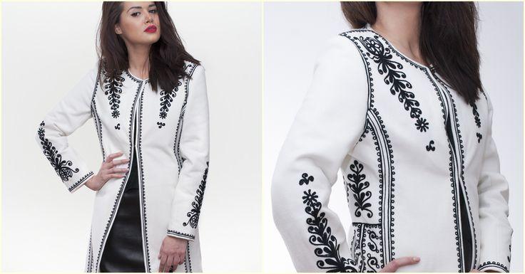 Pardesiu alb, 100% brodat manual! #overcoat #coat #romanianlabel #folk
