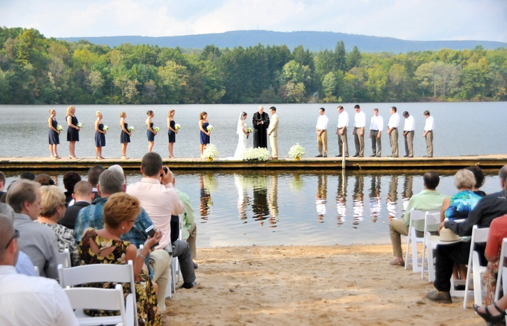 Treat your guests to a unique wedding ceremony at Trout Lake in the Pocono Mountains! #PoconoMtns