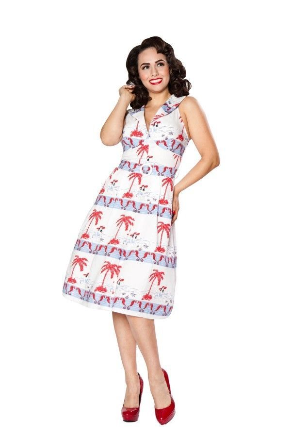 dc4bbca3cf Bettie Page Beach Pin Up White Blue Red Sea Horses By the Sea Me Circle  Dress 6 #BettiePage #Summer