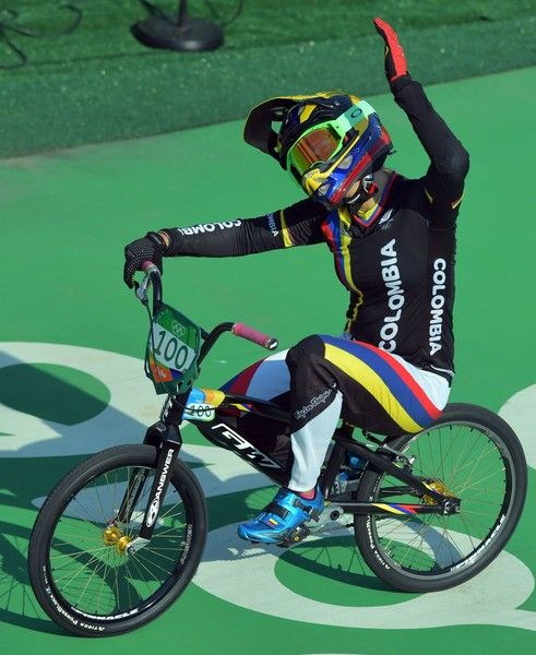 Colombia's Mariana Pajon celebrates after winning the women's BMX cycling final…