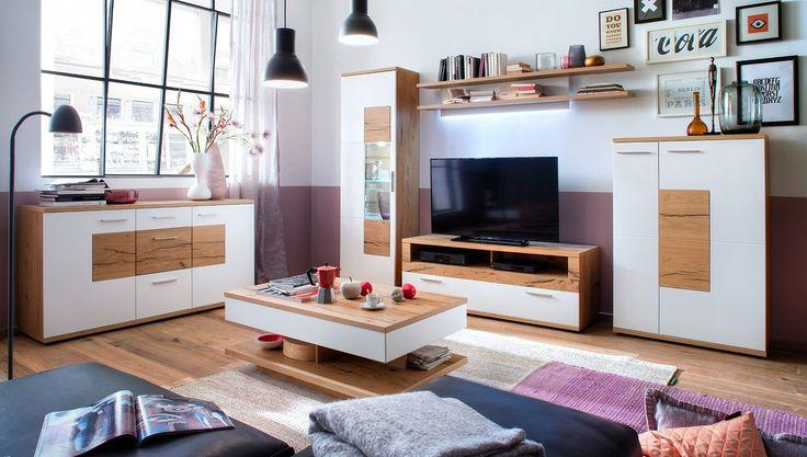 Wohnwand Nizza mit Sideboard Eiche mit Weiß 20632. Buy now at https://www.moebel-wohnbar.de/wohnwand-nizza-mit-sideboard-eiche-mit-weiss-20632.html
