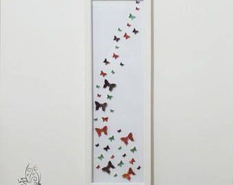 Flutter papillon essaim Frame haut Orange marron et vert anis
