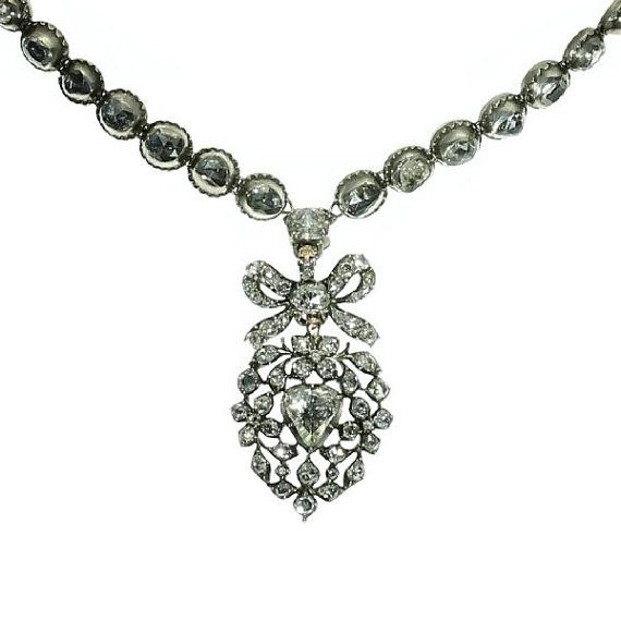 Antique Diamond Heart Necklace 17th by adinantiquejewellery