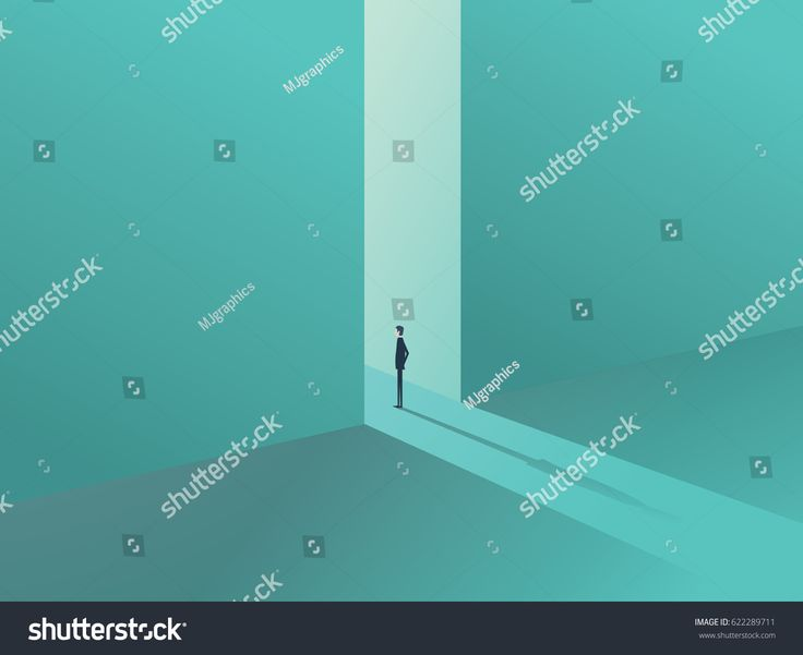 Businessman standing in a gate as a symbol of business opportunities, challenge, vision and future. Eps10 vector illustration.