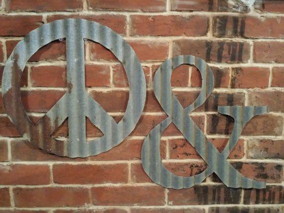 Kansas Barn Tin Symbols and Shapes 15inch ampersand #peacesign #ampersand #heart #valentine #wedding #reception #country #industrial #monogram #engagement #galvanized #barntin #rustic #homedecor
