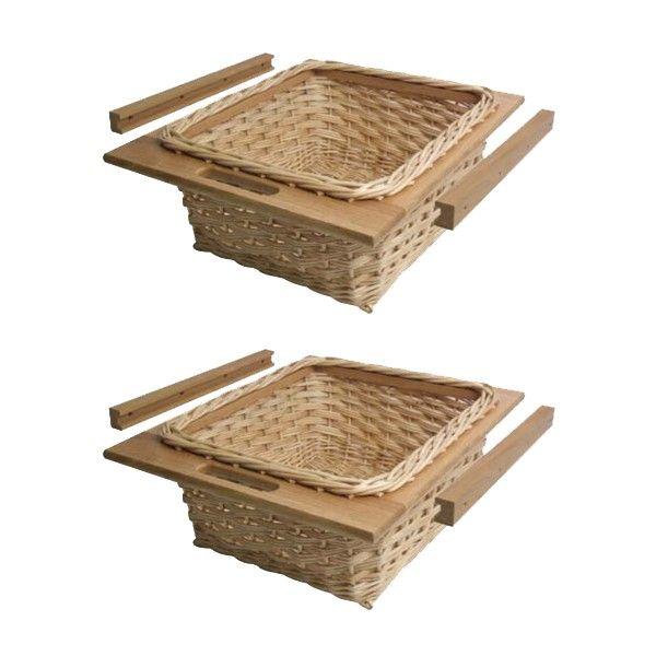 Hafele 2x White Wicker Basket Drawers with European Oak Frames and ...