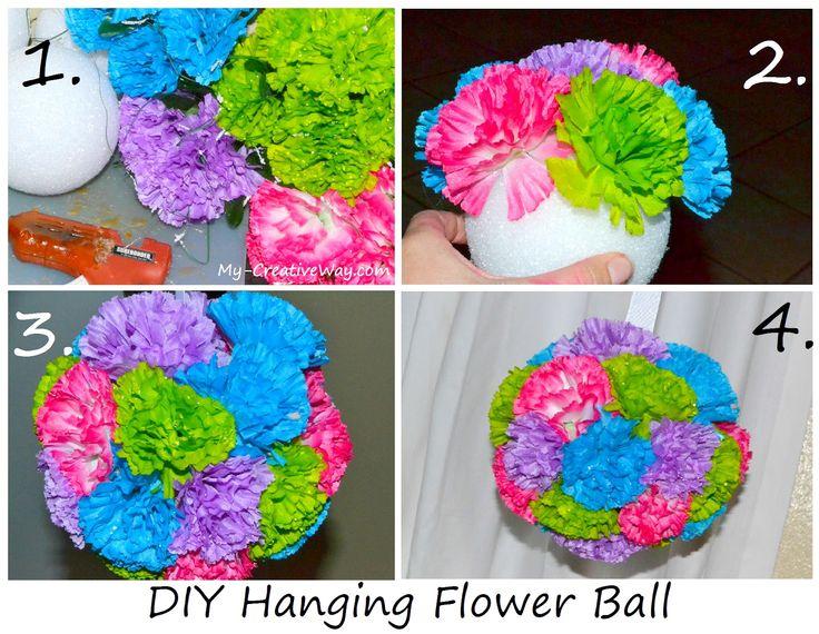 Diy Floral Hanging Balls Styrofoam Ball Fake Flowers Hot Glue Gun Super Easy Tutorial Crafts For