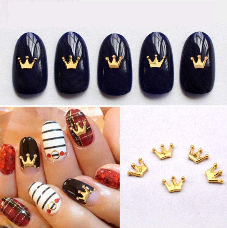 The 25 best crown nail art ideas on pinterest crown nails new gold metal charm crown design nail art studs diy nail jewelry accessories beauty nail decoations prinsesfo Images