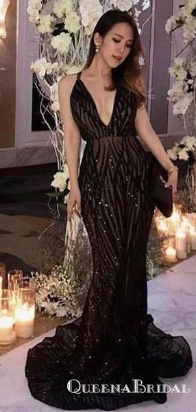 94f865bb7614 Sparkly Mermaid Deep V-Neck Long Black Lace Prom Dresses with Beaded,  QB0514 #prom #promdresses #longpromdresses #eveningdresses  #cheappromdresses #party # ...
